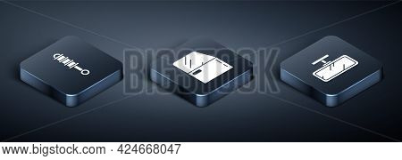 Set Isometric Shock Absorber, Car Mirror And Car Door Icon. Vector