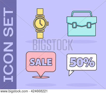 Set Fifty Discount Percent Tag, Wrist Watch, Hanging Sign With Sale And Briefcase Icon. Vector