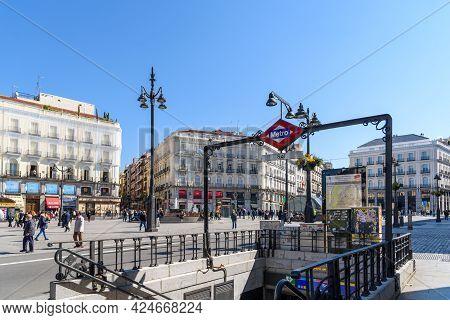 Madrid, Spain - April, 18 2021: Sol Metro Station In Puerta Del Sol Square In Central Madrid. Subway