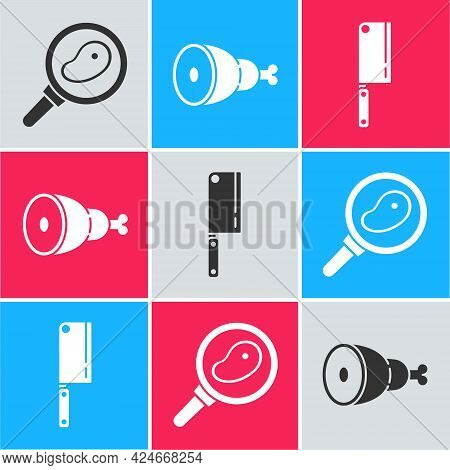 Set Steak Meat In Frying Pan, Chicken Leg And Meat Chopper Icon. Vector