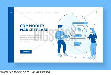 Shopping On Online Commodity Market. People Choose Products On Website. Electronic Payment By Credit