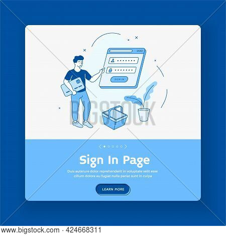 Login Page For Personal Web Account. Man Enters Password Into Online Application. Digital Payment By