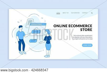 Electronic Online Commercial Store. People Looking Into New Marketplace Website. Opening Virtual Sho