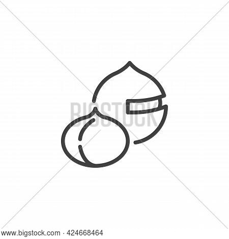 Macadamia Nut Line Icon. Linear Style Sign For Mobile Concept And Web Design. Macadamia Shell Outlin