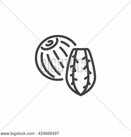 Brazil Nut Line Icon. Linear Style Sign For Mobile Concept And Web Design. Brazil Nut Shell Outline