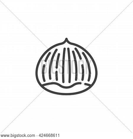 Chestnut Kernel Line Icon. Linear Style Sign For Mobile Concept And Web Design. Chestnut Nut Outline