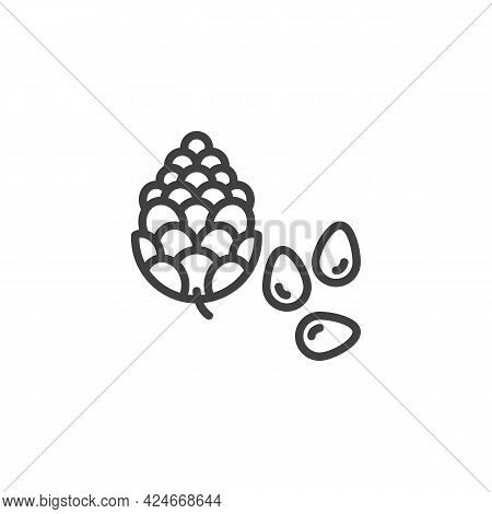 Pine Nut Seed Line Icon. Linear Style Sign For Mobile Concept And Web Design. Pine Tree Nut Outline