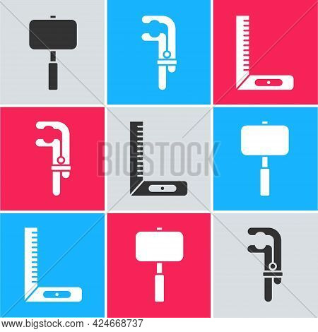 Set Sledgehammer, Clamp Tool And Corner Ruler Icon. Vector