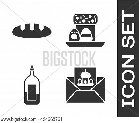 Set Greeting Card With Happy Easter, Bread Loaf, Bottle Of Wine And Easter Cake And Eggs Icon. Vecto