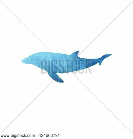 Blue Watercolor Aquarelle Dolphin On White Background Hand Drawn Digital Illustration