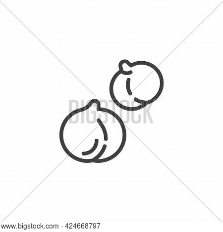 Chickpea Line Icon. Linear Style Sign For Mobile Concept And Web Design. Chick-pea Seed Outline Vect