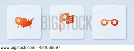 Set American Flag, Usa Map And Glasses With Stars. White Square Button. Vector