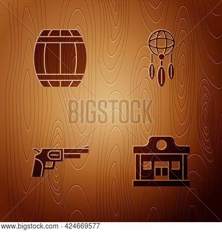 Set Wild West Saloon, Gun Powder Barrel, Revolver Gun And Dream Catcher With Feathers On Wooden Back