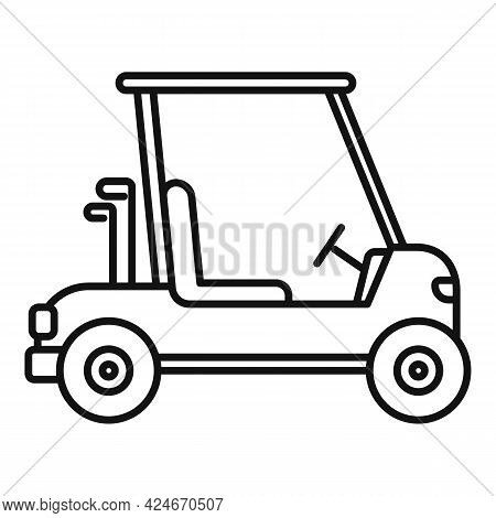 Golf Cart Drive Icon. Outline Golf Cart Drive Vector Icon For Web Design Isolated On White Backgroun