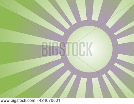 Sunlight Retro Background With Vintage Round Frame For Text. Green And Violet Color Burst Background