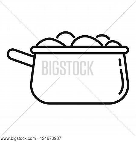 Greece Food Saucepan Icon. Outline Greece Food Saucepan Vector Icon For Web Design Isolated On White