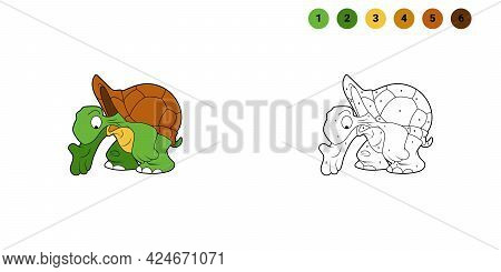 Coloring Book For Kids. Cartoon Character. Turtle Is Pointing Down. Black Contour Silhouette. Isolat
