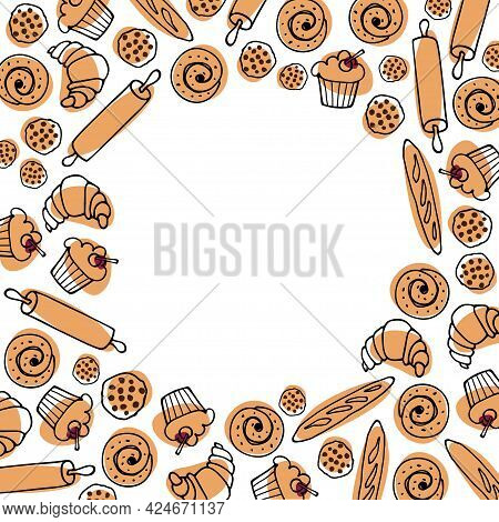 Border With Baking. Flat Various Pastries For Logo, Emblem, Label, Copy Space. Sweets And Desserts C