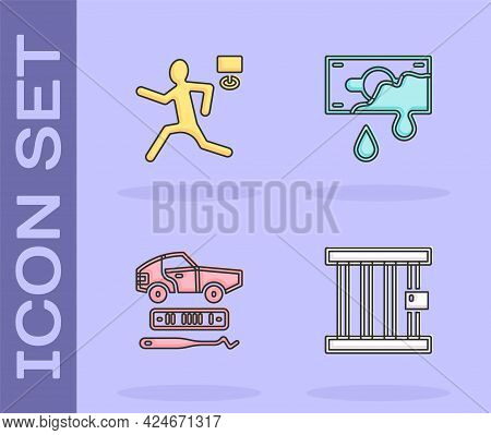 Set Prison Window, Murder, Car Theft And Bloody Money Icon. Vector