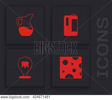 Set Cheese, Milk Jug Or Pitcher, In Plastic Bottle And Udder Icon. Vector