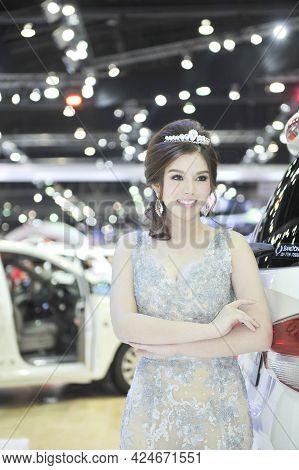 Bangkok-march  29 Pretty At The36 Th Bangkok International Motor Show 2015 On March 29 2015 In Bangk