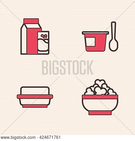 Set Cottage Cheese, Paper Package For Kefir, Yogurt Container With Spoon And Butter Butter Dish Icon