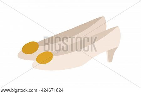 Women's Cone-heeled Shoes With Cone Heel. Fashion Trendy Footwear Decorated With Big Golden Brooch.