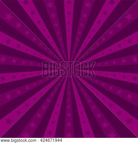 Sunlight Horizontal Background. Purple And Violet Color Burst Background With Shining Stars. Vector
