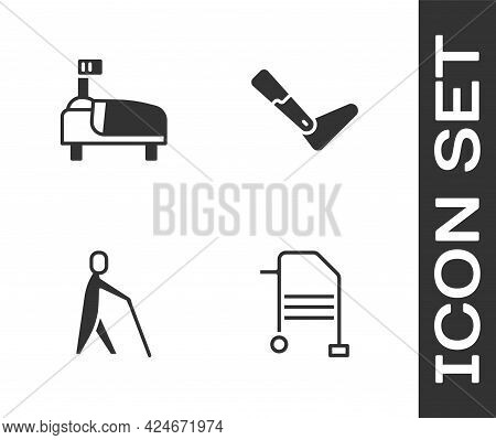 Set Walker, Hospital Bed, Blind Human Holding Stick And Prosthesis Leg Icon. Vector
