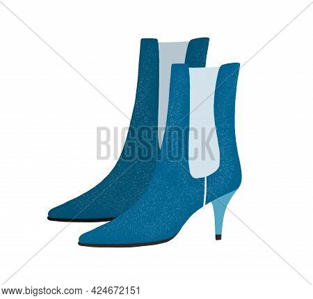 Fashion Women's Cone-heeled Suede Boots With Elastic Fabric Tab. Modern Trendy Footwear. Colored Fla