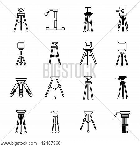 Tripod Support Icons Set. Outline Set Of Tripod Support Vector Icons For Web Design Isolated On Whit