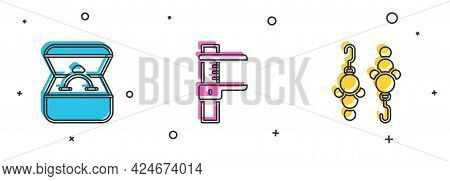 Set Diamond Engagement Ring In Box, Calliper Or Caliper And Scale And Earrings Icon. Vector