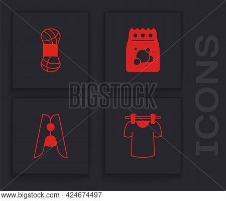 Set Drying Clothes, Yarn, Laundry Detergent And Clothes Pin Icon. Vector