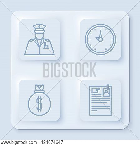 Set Line Police Officer, Clock, Money Bag And Lawsuit Paper. White Square Button. Vector