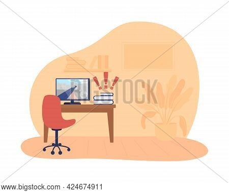 Teen Room 2d Vector Isolated Illustration. Desk With Computer Screen. Video Game On Display. Leisure