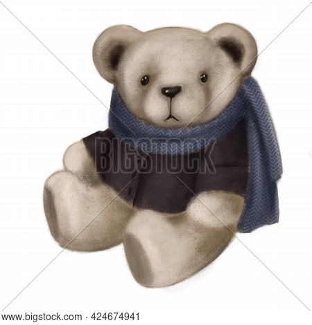 Cute Plush Bear, Hand Drawn Illustration, Watercolor Pastels Clipart Good For Card And Print Design