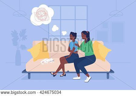 Parent Support Sad Teenage Girl 2d Vector Isolated Illustration. Depressed Child With Mother Sit On