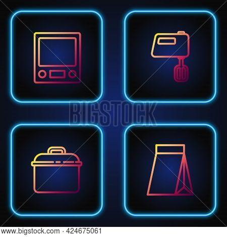 Set Line Bag Of Coffee Beans, Cooking Pot, Electronic Scales And Electric Mixer. Gradient Color Icon