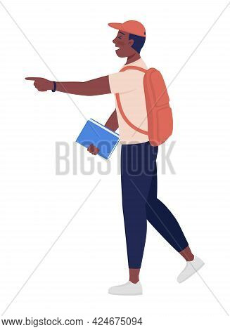 Teenager Poking Finger Semi Flat Color Vector Character. Standing Figure. Full Body Person On White.