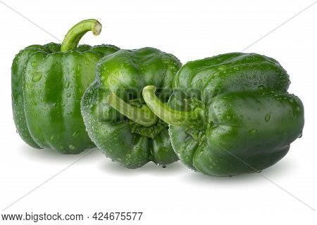 Water Droplets On Green Bell Pepper Isolated On White Background