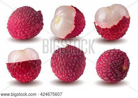 Fresh Lychee Or Litchi Fruit Isolated Over White Background