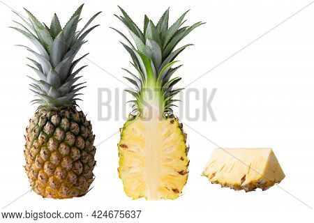 Pineapple Fruit And Pineapple Slices Isolated On White Background.