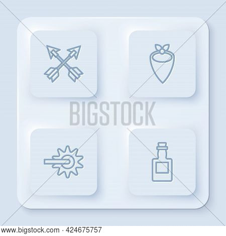 Set Line Crossed Arrows, Cowboy Bandana, Spur And Tequila Bottle. White Square Button. Vector