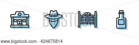 Set Line Saloon Door, Wild West Saloon, Cowboy And Tequila Bottle Icon. Vector