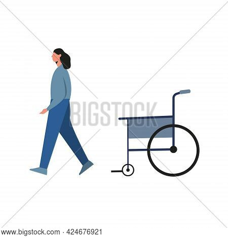 Injured Young Woman Recovering And Getting Up From Wheelchair Isolated On White. Vector Illustration