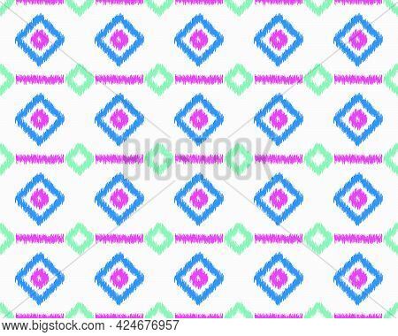 Ikat Ethnic Seamless Pattern Elements Collection. Can Use Beautiful Seamless Pattern Design For Back