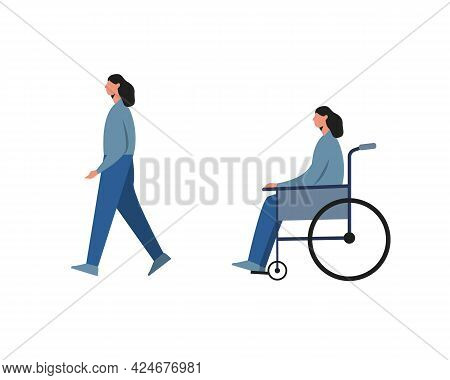 Disabled Woman Before And After Recovery Isolated On White Background.vector Illustration