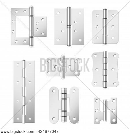 Collection Section Of Steel Door Hinges Vector Illustration Various Metallic Mortise Equipment