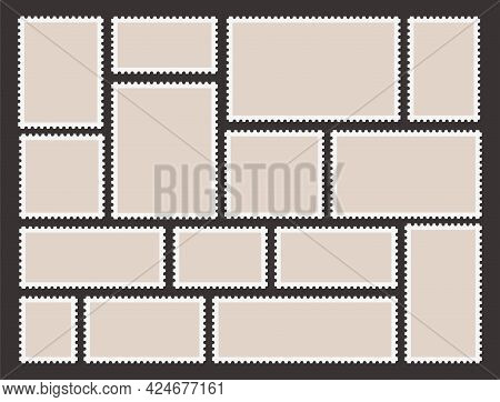 Collection Realistic Postage Stamp Vector Flat Illustration Postal Blank With Vintage Frame Edge