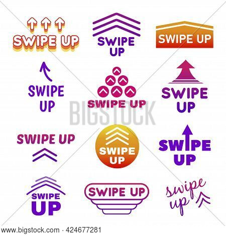 Collection Of Swipe Up Buttons With Arrows Vector Flat Illustration Web Icons For Scrolling, Swiping